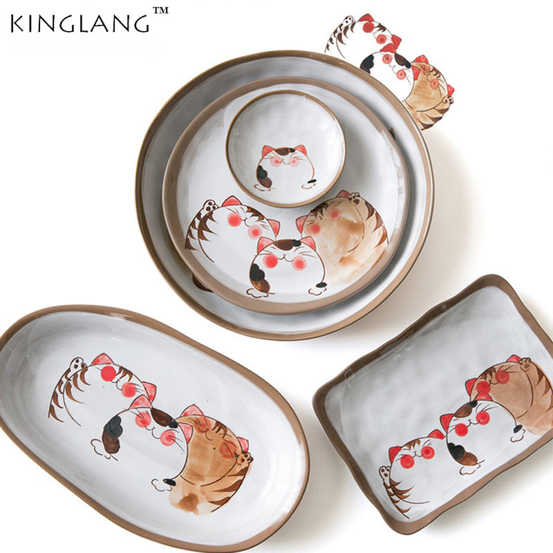 Japanese Style Handmade  Series Ceramic Tableware Set Soup Noodle Bowl Fish Dish Family Dinner Plate Set Wholesale