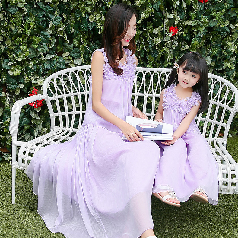 summer 2017 mother daughter dresses for girls family look pink purple sleeveless chiffon loose long maxi dress children clothing brand spring summer pink green sleeveless pleated large size skirts infant sundress daughter mother and girls family look dress