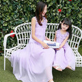 summer 2017 mother daughter dresses for girls family look pink purple sleeveless chiffon loose long maxi dress children clothing