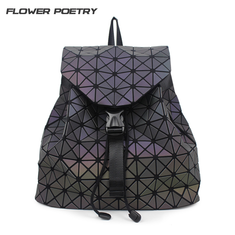 Perempuan Backpack Diamond Lattice Geometry Quilted School Bag Ransel Untuk Remaja Girl Luminous School Bags Holographic Mochila