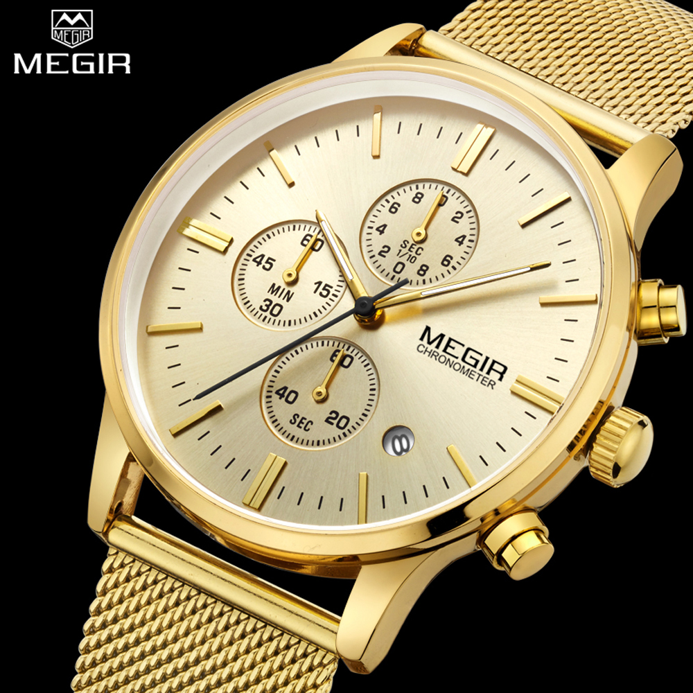 MEGIR Mens Quartz Gold Watch Chronograph Stainless Steel Mesh Band Watches Luxury Men Watches Multi Function