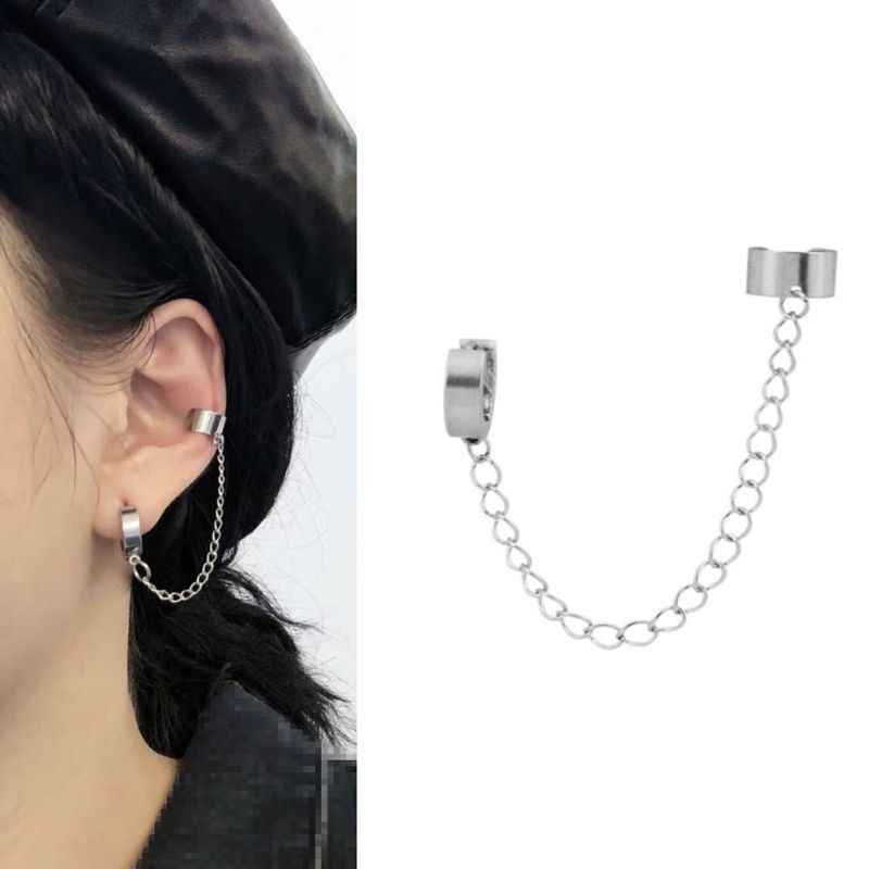 Bidadari 1PC Perhiasan Korea Hip Hop Titanium Baja Jaringan Threader DROP Manset Anting-Anting Punk Unisex Perhiasan