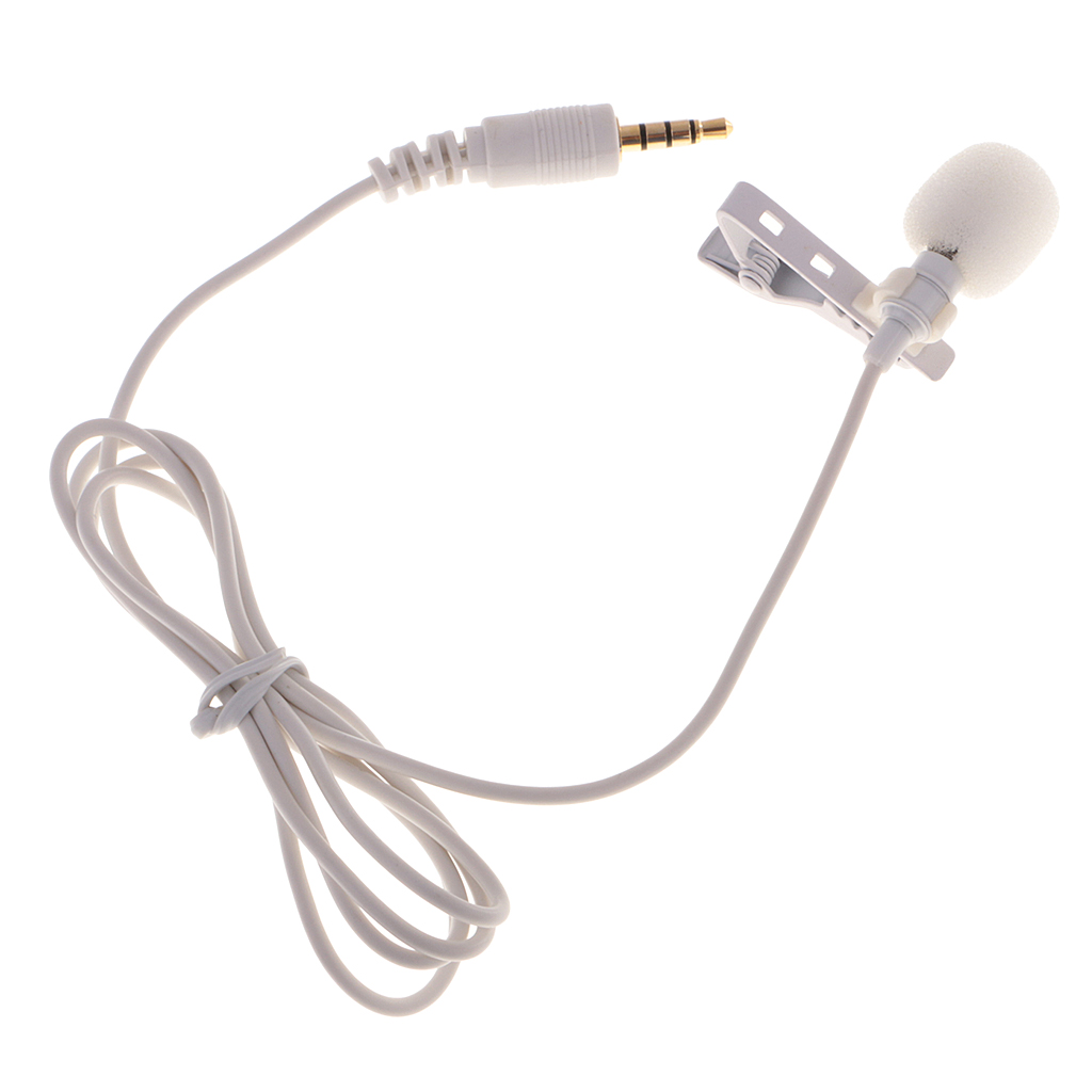Lavalier Microphone Mini Clip-on Condenser Mic For IPhone IPad Samsung Xiaomi Smartphones  Audio Recording 3.5mm Mic White