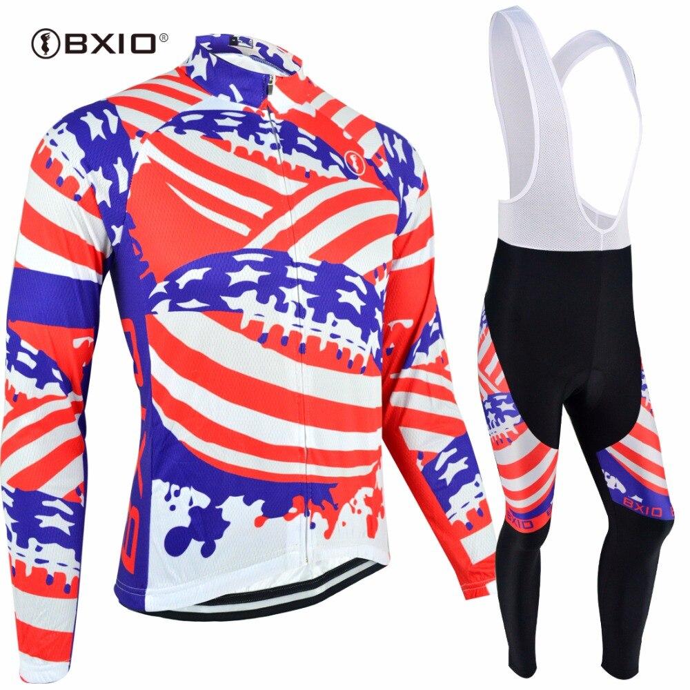 Bxio haute qualité cyclisme Jersey ensembles USA Jersey pleine fermeture éclair hiver cyclisme vêtements Super chaud équipe Usa Jersey BX-0109F078