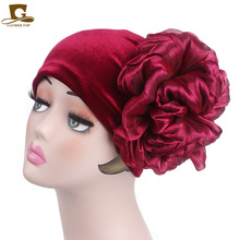 2019 new velvet hats vintage double flower beanie turban women headbands Muslim Islamic Turban Cap Turbante hair accessories