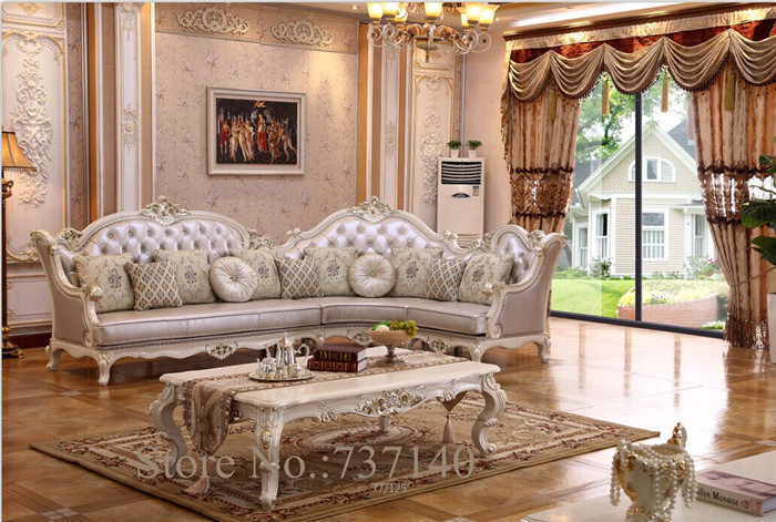 Country Style Woonkamer Antique Corner Sofa Set Baroque Style Living Room