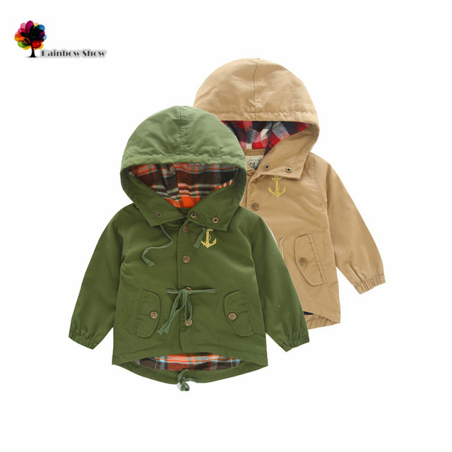 New Children Clothing Boys Autumn Spring Fashion Anchor Classical  Brief  Solid Hooded Quality Trench Children Casual Outwear
