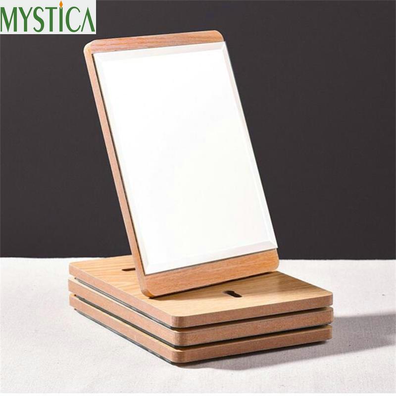 NEW Makeup Mirror Wooden Bathroom Bedroom Living Room Accessories Desktop Decoration High Clear Standing Cosmetic Dresser Mirror