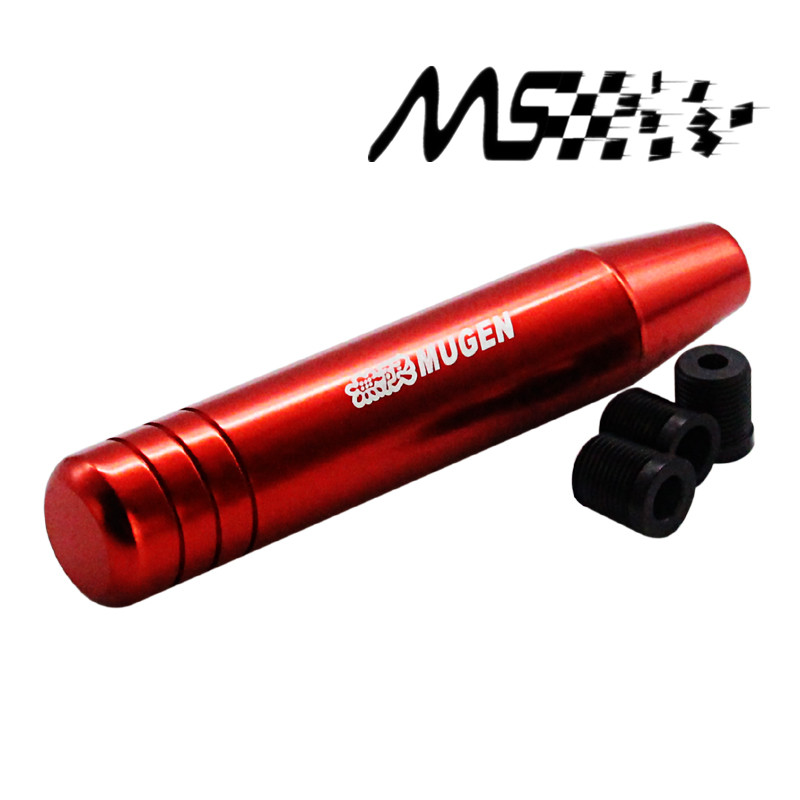 Universal Mugen Red Shift Knob 18cm Length Aluminum Gear Shift Knob Racing Car Universal Shift Gear Knob With 3 Adapter