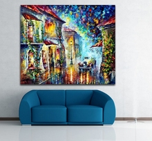 Greek Night-100% Hand-painted Palette Knife Painting Modern Canvas Wall Picture for Living Room Bedroom Decor