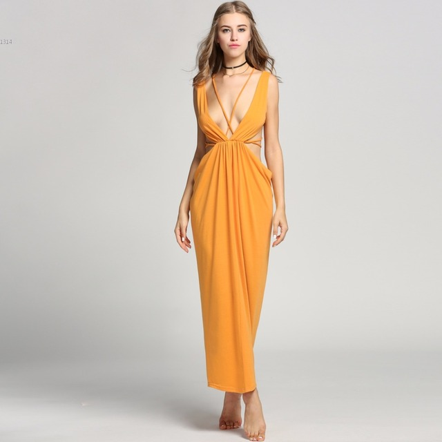 Hot Bandage Dress Sexy Women Deep V-Neck Backless Cut Out Solid Maxi Long  Dress Well dinner gown final long dresses long kleid 373b92fbc209