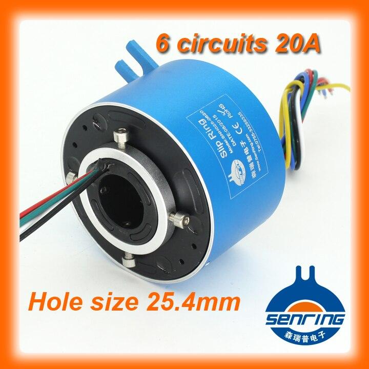 Electroica повернуть 6 каналов 20A проводящих скольжения кольцо 25.4 мм Размер отверстия для через отверстие контактным кольцом