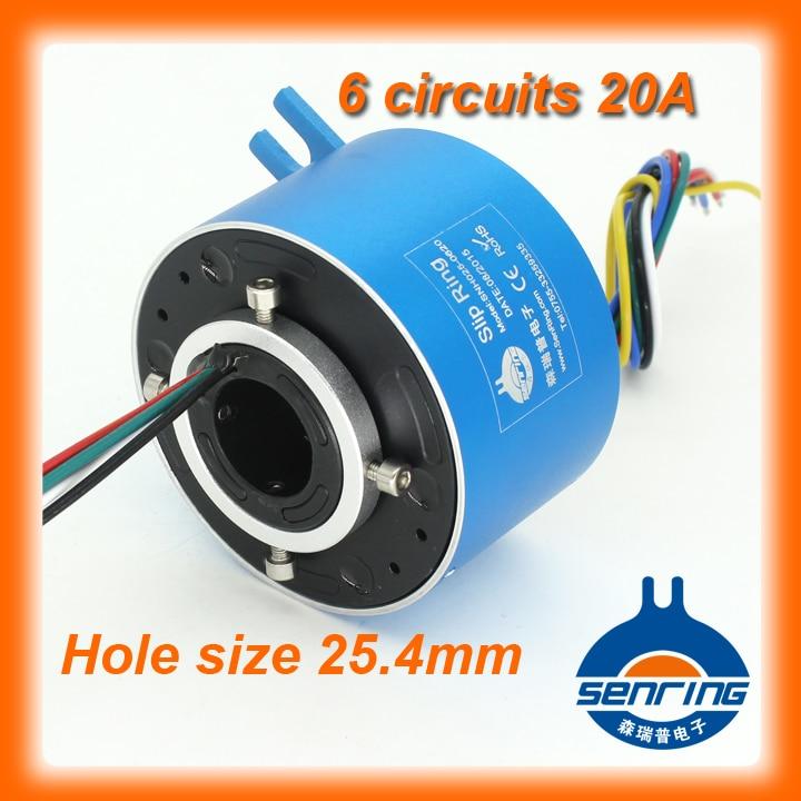 Electroica tourner 6 circuits 20A bague collectrice conducteur 25.4mm bore taille pour à travers l'anneau de patinage de trou