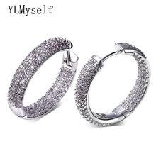 Серьги кольца для женщин золотые и белые микро серьги с кубическим