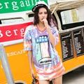 Full sequins t shirt 2017 women cool colorful letter print V neck shirt dress loose striped spliced clothing LT105