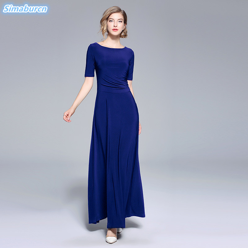 2018 Elegant Women Autumn Dress Short Sleeve Blue Black Red Dresses Evening Wedding Party Casual Solid Color Femme Loose Dresses