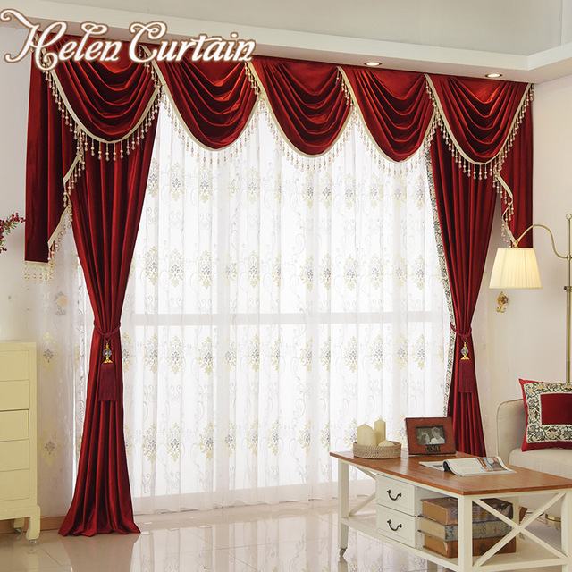 Helen Curtain Set Luxury Velvet Red Curtains For Living Room European Valance Bedroom Beads