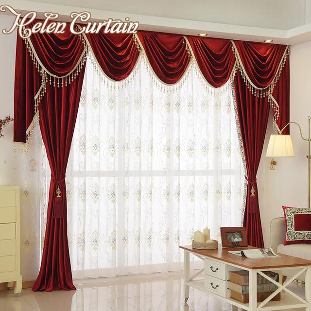 helen gordijn set luxe fluwelen rode gordijnen voor woonkamer europese volant gordijnen voor slaapkamer kralen gordijnen