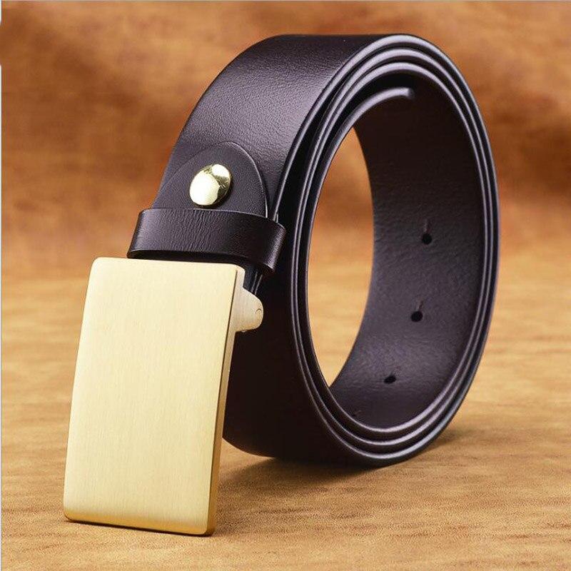 2019 100 Copper Buckle Men Genuine Leather Belt Cowskin Leather Jeans Belts Luxury Male Belt Quality