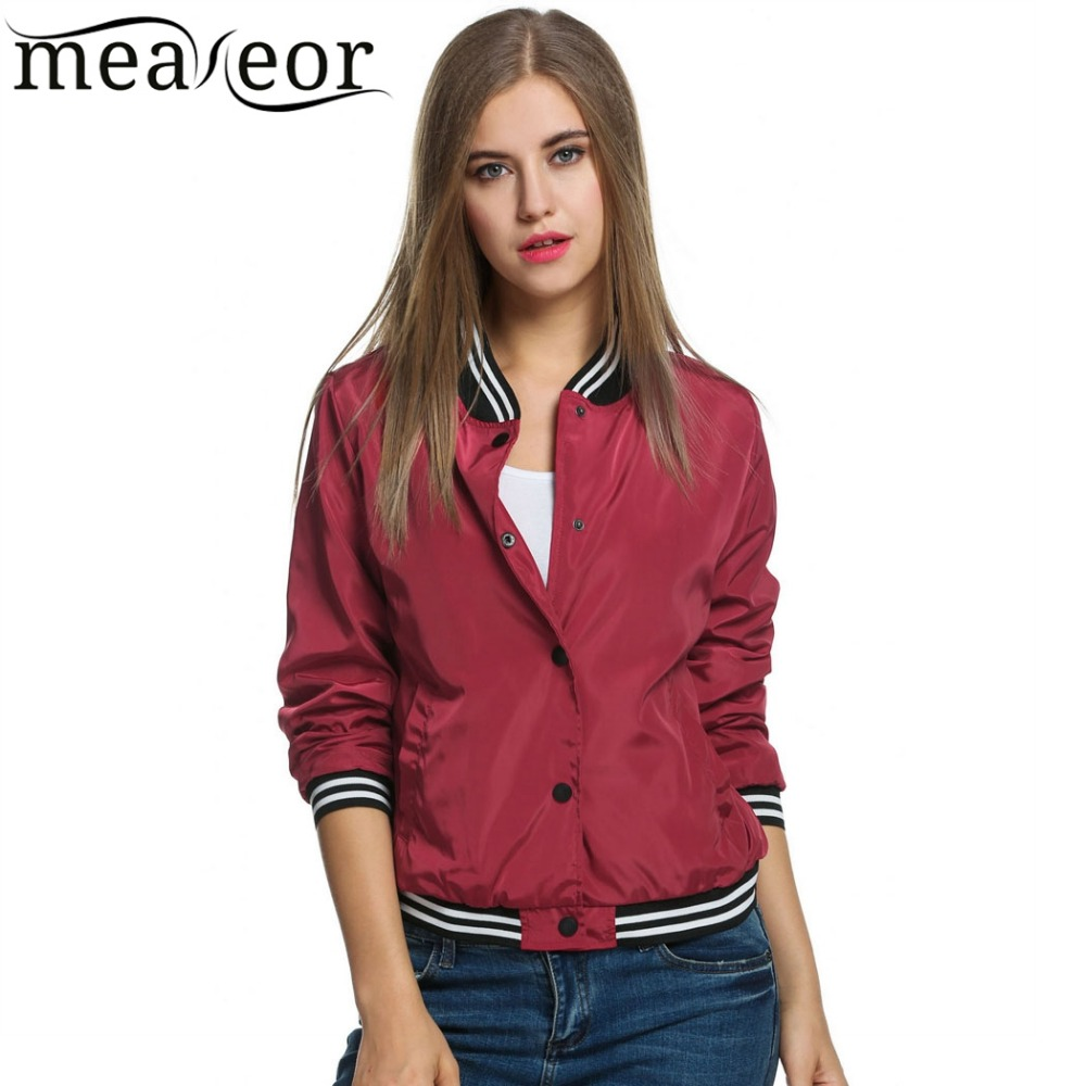 Meaneor Women Bomber Jacket Casual Jacket Coat 2018 Spring Windbreaker Tops Stand Collar Baseball Jackets Slim Zipper Coats