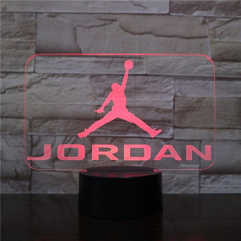 Basket Michael Jordan Usb 3d Led veilleuse garçons enfant enfants Fans cadeaux d'anniversaire multicolore RGB AJ lampe de bureau chambre néon