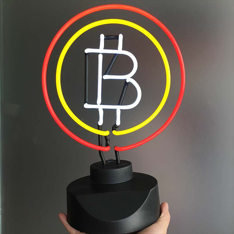 BitCoin Neon Signs Desk Light Neon Bulb Sign Virtual Currency Real Glass Tube Decorate Room Bank Display Digital Currency Lamps internet cafe open with coffee cup neon sign neon light sign glass tube arcade neon signs for bar neon handcrafted bar 17x14 vd