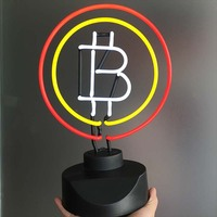 BitCoin Neon Signs Desk Light Neon Bulb Sign Virtual Currency Real Glass Tube Decorate Room Bank