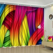 3D оконные шторы, роскошные затемненные шторы для гостиной, офиса, спальни, шторы Rideaux, Индивидуальный размер, цветная полосатая наволочка
