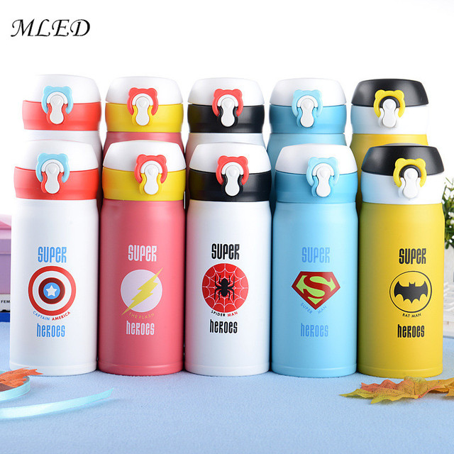 350 500ML Avengers Thermos Cute Cartoon Garrafa Termica Thermo Mug Stainless Steel Vacuum Flask Kids