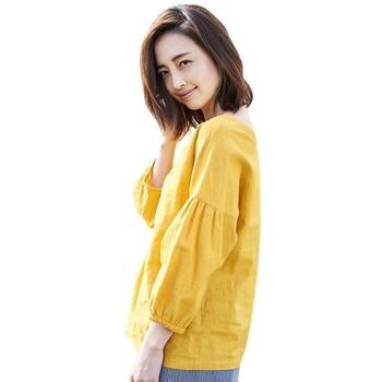 INMAN/Новинка 2019 года; женская весенняя одежда с v-образным вырезом; Хлопковая женская рубашка и льняной пуловер; Свободная блузка с длинными р... >> INMAN Official Store