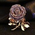 Известный бренд аметист кристалл брошь корсаж женский высокая - класс пурпурная роза фея значки женщин ювелирных изделий подруга подарок