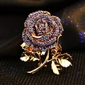 famous brand Amethyst Crystal gold Brooch corsage female high-grade Purple Rose fairy Pin Badges women jewelry girlfriend gift