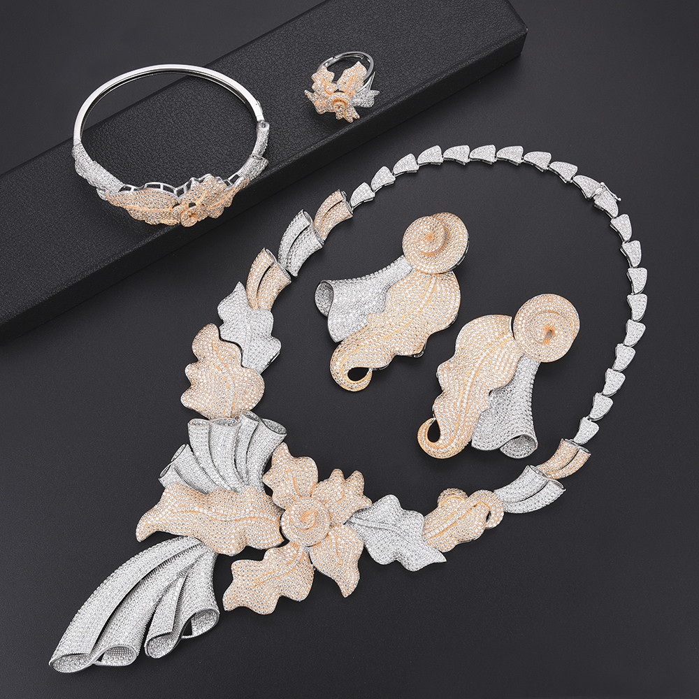 Luxury Leaf dubai jewelry set for women fashion Jewelry Wedding Necklace Earrings Bracelet Ring Jewelry Set parure bijoux femme a suit of elegant rhinestone leaf necklace ring bracelet and earrings for women