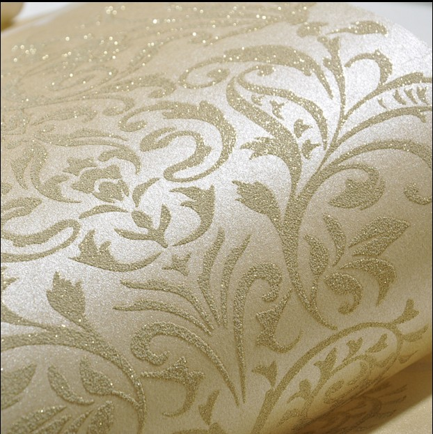 New 10m*53cm Sweet non-woven wallpaper with gold Damascus, european-style bedroom The sitting room TV setting green wall paper 10m 53cm contracted non woven wallpaper warm sitting room the bedroom tv setting wall stickers waterproof abstract lotus flowers