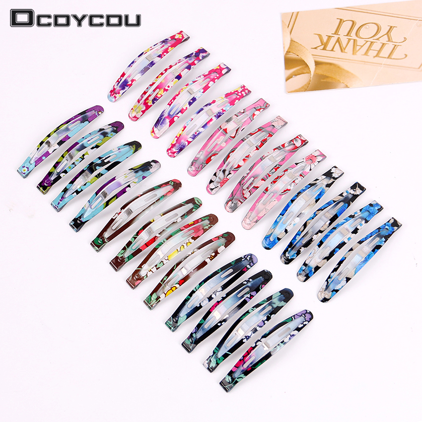 12PCS Print Snap Hair Clips Barrettes Girls Cute BB Clip Hairpins Colorful   Headwear   for Kids Hairgrips Hair Accessories