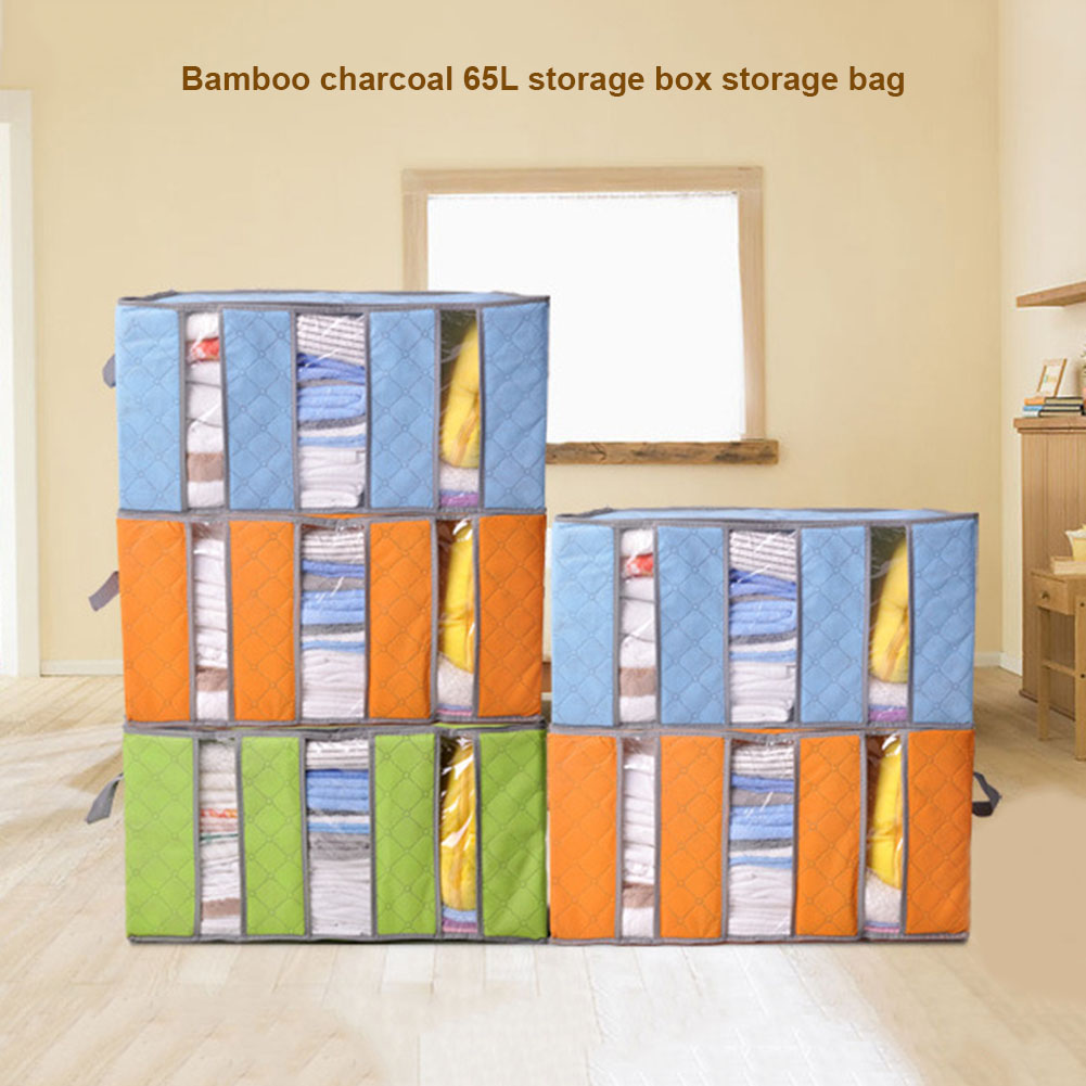 65L Foldable Storage Bag Bamboo Charcoal Organizers Great for Clothes Blankets Closets Bedrooms E2S ...
