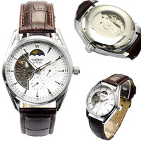 2014 New Famous Brand Winner Luxury Fashion Casual Brown Band Leather Strap Watches Men Mechanical Watch