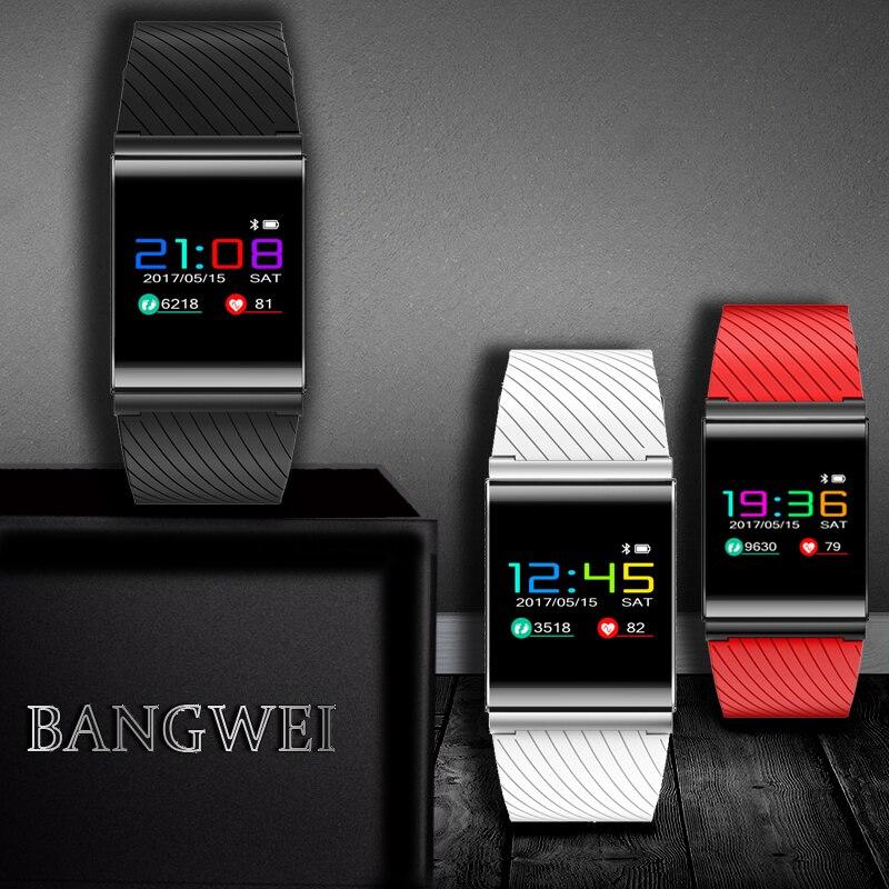 BANGWEI 2018 OLED Écran Couleur sport Fitness Tracker smart Bracelet IP67 Étanche Résistant Moniteur de Fréquence Cardiaque bracelet à puce