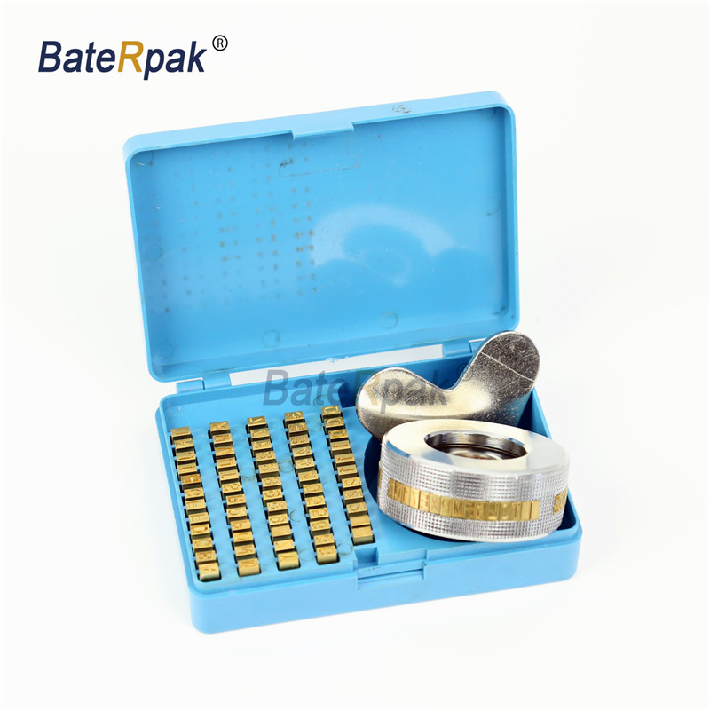 BateRpak Convex/Concave 3x5x9mm Brass Letters Kit For FR900/FR770/FR700/FR800 Continous Band Sealing Machine Character Wheel Box