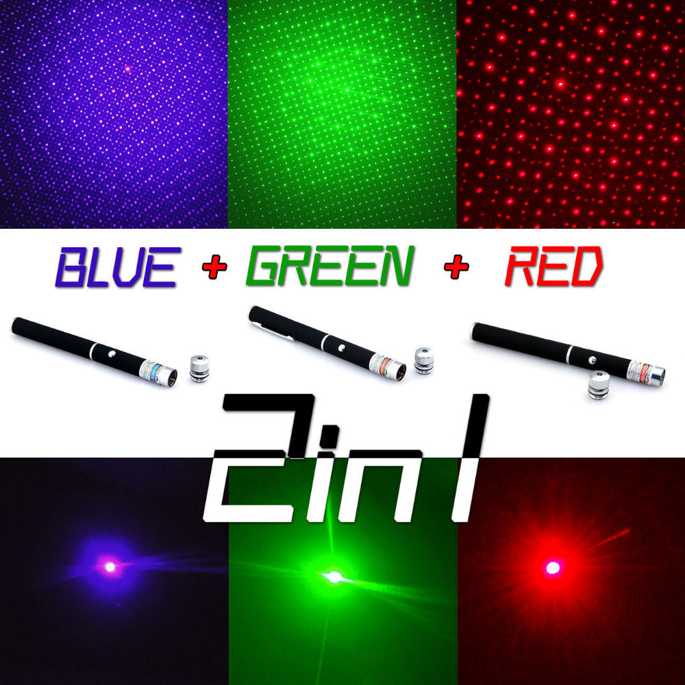 3 Color 1mw Red/green/blue Purple Laser Pointer Pen Beam Light Lazer Flashlight & Star Cap For Teaching And Cat Playing The Latest Fashion