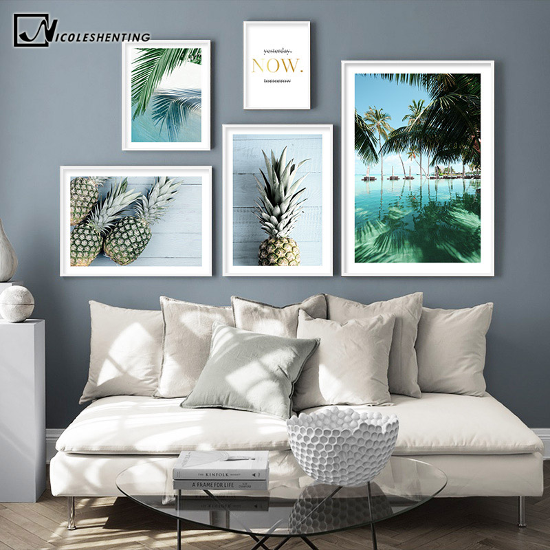 Tropical Decoration Picture Scandinavian Pineapple Poster Palm Tree Print Scenery Wall Art Canvas Painting Modern Room Decor