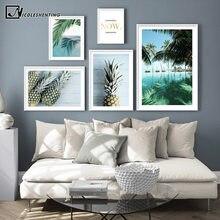 Quadros de decoração tropicais, arte de parede, pintura em tela, poster de abacaxi, palmeira, árvore, decoração moderna de sala