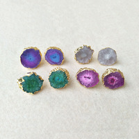 5 pairs Gold color Rainbow Flower Solar Quartz Druzy Stud Earring Natural crystal druse stone Jewelry Drusy Geode for women ER20