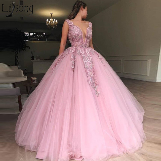 82bc8d0fa64 2019 Latest Pink Tulle Ball Gown Prom Dresses Heavy Beading Engagement  Photos Red Carpet Formal Dress
