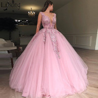 2019 Latest Pink Tulle Ball Gown Prom Dresses Heavy Beading Engagement Photos Red Carpet Formal Dress Charming Evening Wear