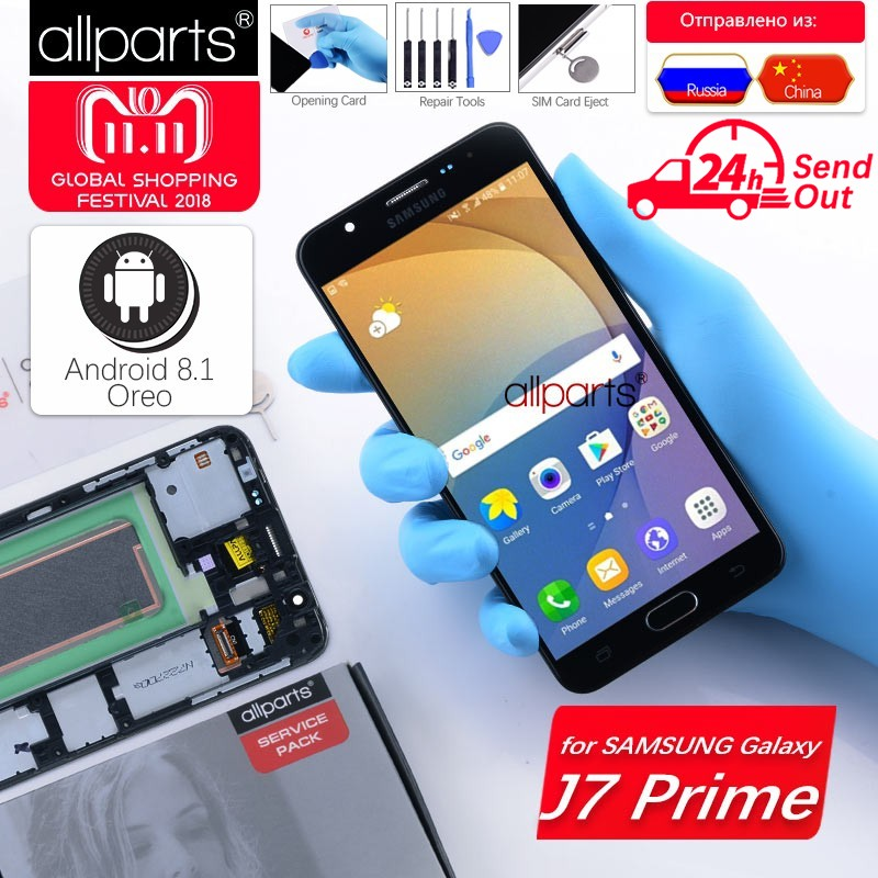 5.5'' Original Display for SAMSUNG Galaxy J7 Prime 2016 LCD Touch Screen with Frame G610 G610F G610M For SAMSUNG J7 Prime LCD