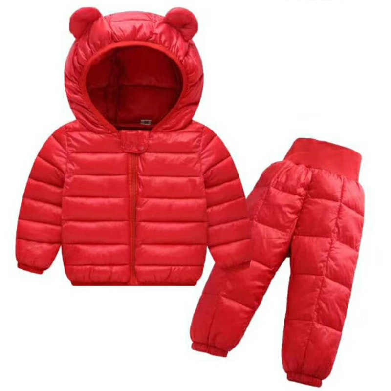 db103cfe52d12 ... Children Winter Clothes Sets 2Pcs Hooded Cotton-Padded Jacket+Pants Baby  Boys Girls Warm ...