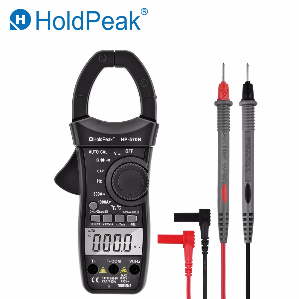 HoldPeak New High Quality HP-570N Auto Range True RMS Digital Clamp Meter Multimeter Amperimetro with Carry Bag Current Clamps holdpeak hp 870k auto range digital clamp meter small current range multimeter amperimetro temperature frequency backlight