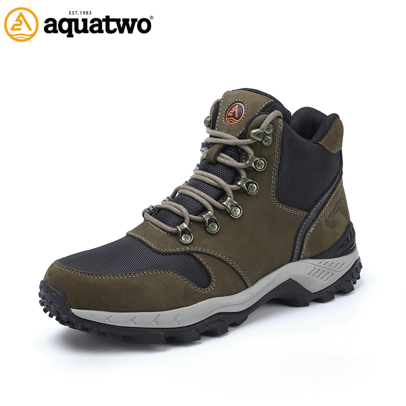 AQUA TWO Outdoor Camping Men Sports Hiking Shoes Walking Sneakers Wear-Resistance Boots Metal Buckle Lace-up Shoes HDS-102358 waterproof hiking shoes breathable men sneakers lace up anti slip outdoor travel walking sports shoes mans footwear xyd118