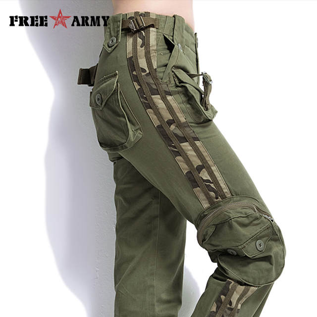 95b58854e792a Brand Plus Size Women Pants Camouflage Cargo Pants Unisex Pants   Capris  Army Military Pants Pockets